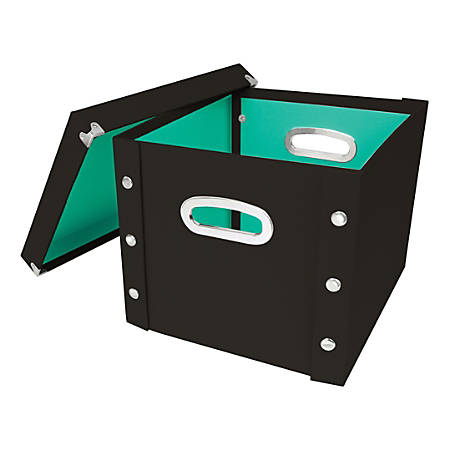 """Snap-N-Store™ Select Storage Box, 13-1/4"""" x 2"""" x 12-1/4"""", 50% Recycled, Black/Mint"""