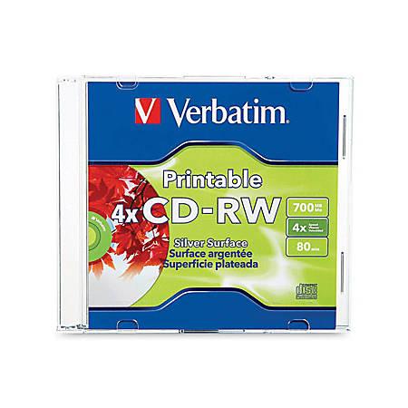 Verbatim CD-RW 700MB 2X-4X DataLifePlus Silver Inkjet Printable with Branded Hub - 1pk Jewel Case - 120mm - Printable - Inkjet Printable - 1.33 Hour Maximum Recording Time