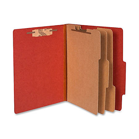 """ACCO® Durable Pressboard Classification Folders, Letter Size, 4"""" Expansion, 3 Partitions, 60% Recycled, Earth Red, Box Of 10"""