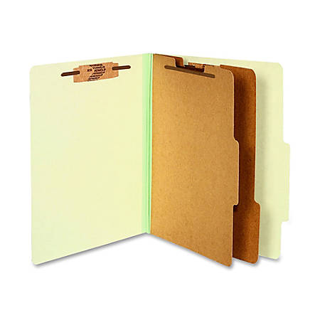 "ACCO® Durable Pressboard Classification Folders, Letter Size, 3"" Expansion, 2 Partitions, 60% Recycled, Leaf Green, Box Of 10"
