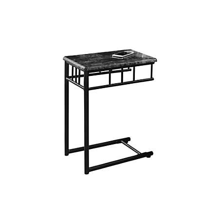 "Monarch Specialties Oliver Accent Table, 24""H x 12""W x 18""D, Dark Gray Marble/Charcoal"