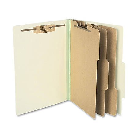 "ACCO® Durable Pressboard Classification Folders, Letter Size, 4"" Expansion, 3 Partitions, 60% Recycled, Leaf Green, Box Of 10"