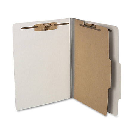 "ACCO® Durable Pressboard Classification Folders, Letter Size, 2"" Expansion, 1 Partition, 60% Recycled, Mist Gray, Box Of 10"