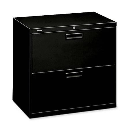 "HON® 500-Series Lateral File, 2 Drawers, 28""H x 30""W x 19 1/4""D, Black"