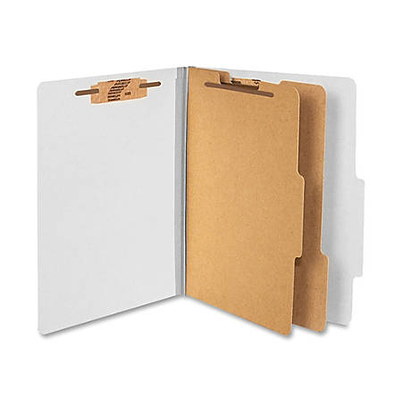 """ACCO® Durable Pressboard Classification Folders, Letter Size, 3"""" Expansion, 2 Partitions, 60% Recycled, Mist Gray, Box Of 10"""