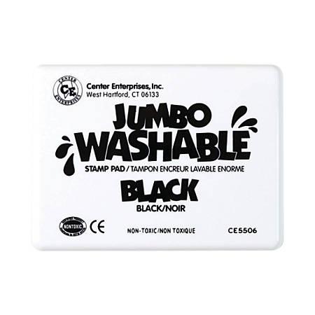 "Center Enterprise Jumbo Washable Unscented Stamp Pads, 6 1/4"" x 4"", Black, Pack Of 2"
