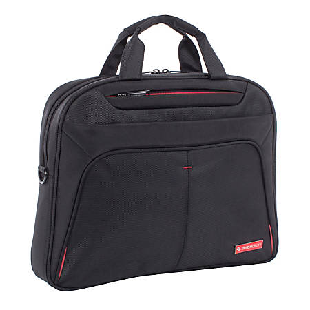 """Swiss Mobility Purpose Slim Executive Briefcase With 15.6"""" Laptop Pocket, Black"""