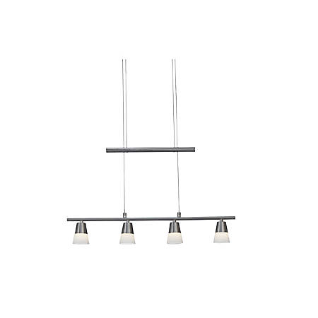 Adesso® Aerial Hanging Pendant, 4 LEDs, Frosted Glass Shade/Brushed Steel Base