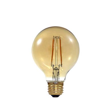 Euri G25 Amber Glass LED Filament Bulb, Dimmable, 670 Lumens, 7 Watt, 2400K/Soft Glow, Pack Of 6 Bulbs