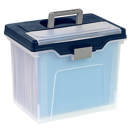 "Office Depot® Brand Mobile File Box, Large, Letter Size, 11 5/8""H x 13 13/6""W x 10""D, Clear/Blue"