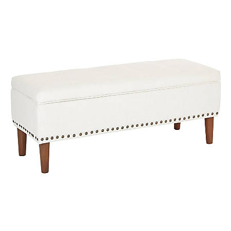 Ave Six Bryant Bench, White Linen/Coffee/Antique Bronze