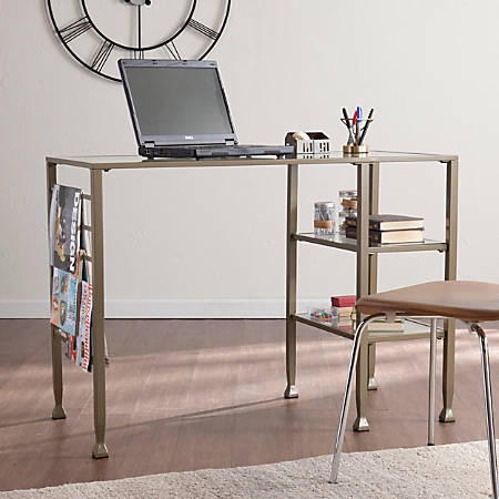Southern Enterprises Metal/Glass Writing Desk, Matte Khaki