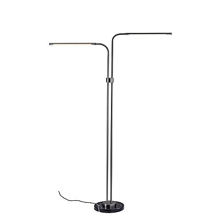 "Adesso® Hydra LED Floor Lamp, 72-1/2""H, Black/Brushed Steel"