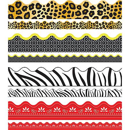 Carson-Dellosa Scalloped Borders Sets, Leopard Print/Tiger Print/Zebra Print/Red Bandana, Multicolor, Pre-K - Grade 8, Pack Of 4