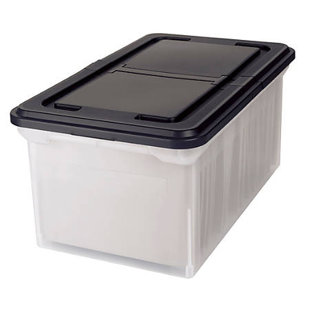 "Office Depot® Brand Stackable File Tote Box, Letter Size, 10 7/10""H x 22 4/5""D x 13 7/10""W, Clear/Black"