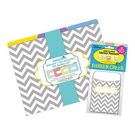 "Barker Creek Folder/Pocket Set, 9"" x 12"", Chevron Beautiful, Pack Of 12"