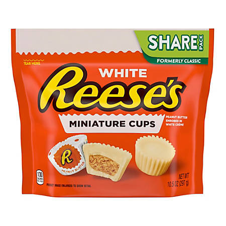 Reese's Miniature White Peanut Butter Cups, 10.5 Oz Bag, Pack Of 3 Bags