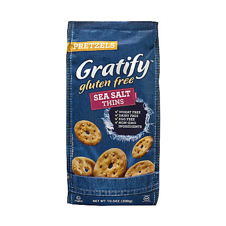 Gratify Gluten-Free Sea Salt Pretzel Thins, 10.5 Oz, Pack Of 6 Bags