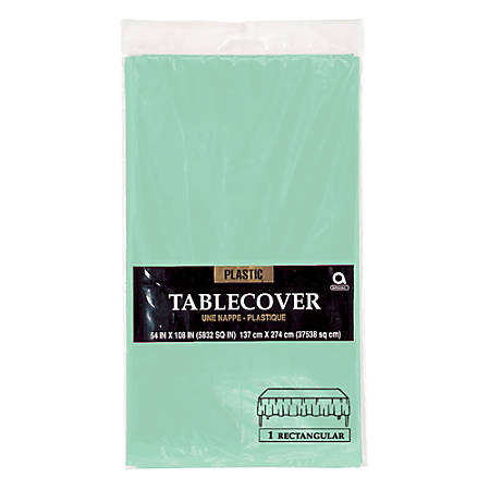 """Amscan Rectangular Plastic Table Covers, 54"""" x 108"""", Cool Mint, Pack Of 7 Table Covers"""