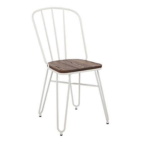 Office Star™ Charleston Folding Chairs, White, Set Of 2 Chairs