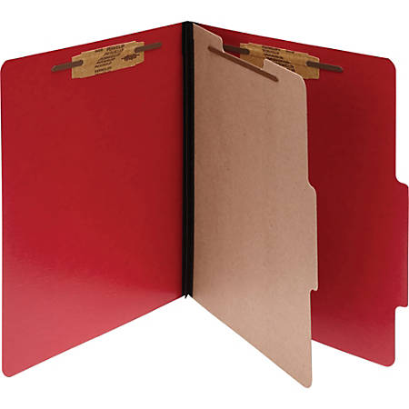 """ACCO® ColorLife® PRESSTEX® 4-Part Classification Folders, Letter, Red, Box of 10 - 2"""" Folder Capacity - Letter - 8 1/2"""" x 11"""" Sheet Size - 4 Fastener(s) - 4 Divider(s) - Presstex - Executive Red - 10 / Box"""