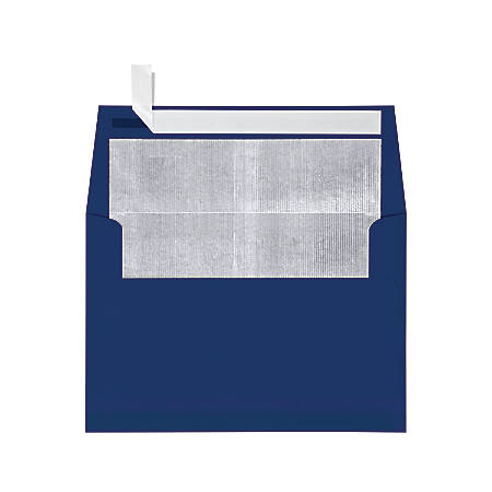 """LUX Foil-Lined Invitation Envelopes With Peel & Press Closure, A4, 4 1/4"""" x 6 1/4"""", Navy/Silver, Pack Of 1,000"""