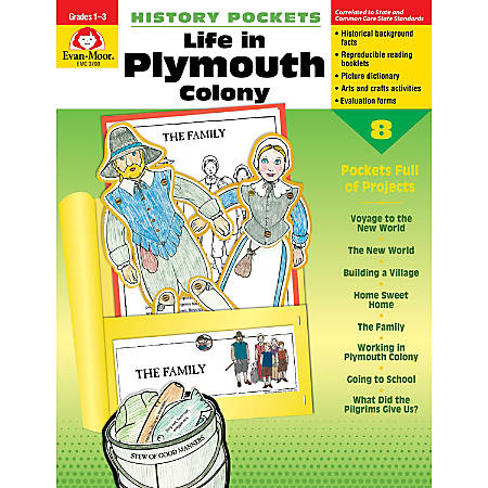 Evan-Moor® History Pockets, Life In Plymouth Colony, Grades 1-3