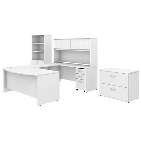 "Bush Business Furniture Studio C 72""W x 36""D U Shaped Desk with Hutch, Bookcase and File Cabinets, White, Standard Delivery"