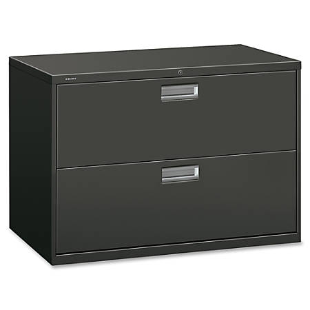"""HON® 600-Series Standard Lateral File With Lock, 2 Drawers, 28""""H x 42""""W x 19 1/4""""D, Charcoal"""