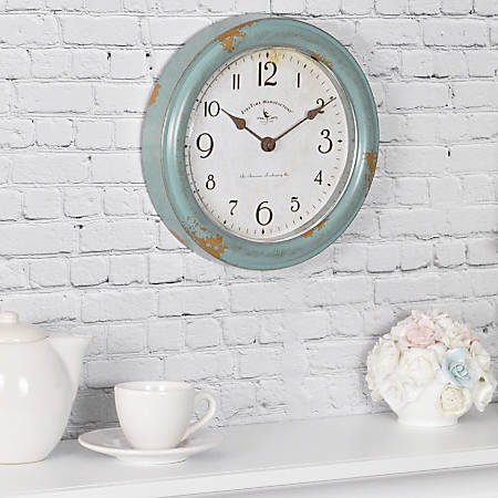 FirsTime & Co.® Patina Round Wall Clock, Aged Teal