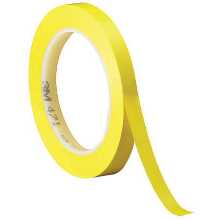 "3M™ 471 Vinyl Tape, 3"" Core, 0.25"" x 36 Yd., Yellow, Case Of 3"
