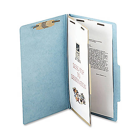 """ACCO® Durable Pressboard Classification Folders, Legal Size, 2"""" Expansion, 1 Partition, 60% Recycled, Sky Blue, Box Of 10"""