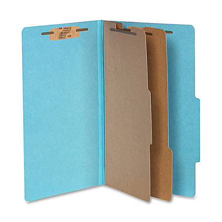 "ACCO® Durable Pressboard Classification Folders, Legal Size, 3"" Expansion, 2 Partitions, 60% Recycled, Steel Blue, Box Of 10"