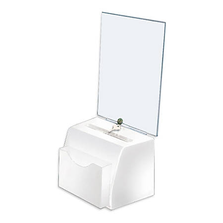"Azar Displays Medium Molded Lottery Box With Pocket, 17""H x 5-1/2""W x 7-3/4""D, White"