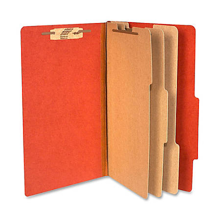 "ACCO® Durable Pressboard Classification Folders, Legal Size, 4"" Expansion, 3 Partitions, 60% Recycled, Earth Red, Box Of 10"