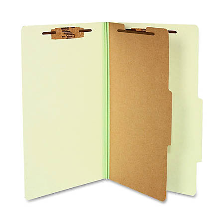 """ACCO® Durable Pressboard Classification Folders, Legal Size, 2"""" Expansion, 1 Partition, 60% Recycled, Leaf Green, Box Of 10"""