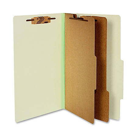 "ACCO® Durable Pressboard Classification Folders, Legal Size, 3"" Expansion, 2 Partitions, 60% Recycled, Leaf Green, Box Of 10"