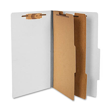 """ACCO® Durable Pressboard Classification Folders, Legal Size, 3"""" Expansion, 2 Partitions, 60% Recycled, Mist Gray, Box Of 10"""