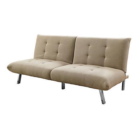 Monarch Specialties Split-Back Convertible Sofa Futon, Linen, Sand