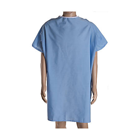 DMI® Easy-Access Patient Hospital Gown With Snap Shoulders, One Size Fits Most, Blue