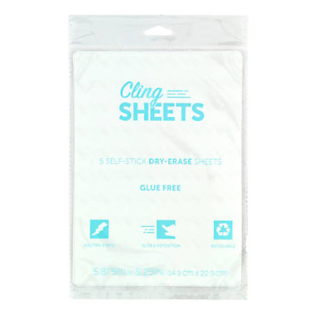 "Office Depot® Brand Dry-Erase Memo Sheets, 5-7/8"" x 8-1/4"", White, Pack Of 5 Sheets"