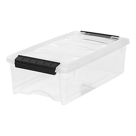 """IRIS Stack & Pull Boxes, 5-Quart, 4-1/2"""" x 8"""" x 14-1/8"""", Clear, Pack Of 10 Boxes"""