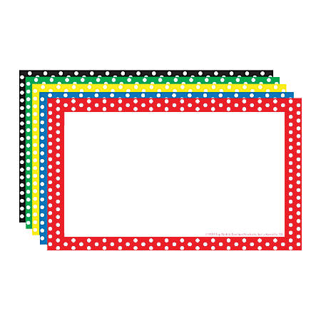 """Top Notch Teacher Products® Polka Dot Border Index Cards, 3"""" x 5"""", Assorted Colors, 75 Cards Per Pack, Case Of 6 Packs"""