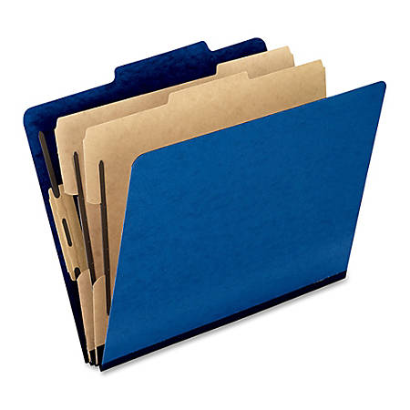 """Oxford® Pressboard Classification Folders, Letter Size, 2"""" Expansion, 65% Recycled, Dark Blue, Box Of 10"""