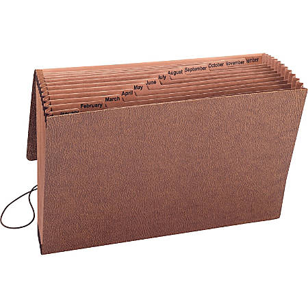 """Smead TUFF® Expanding Files with Flap and Elastic Cord - Legal - 8 1/2"""" x 11"""" Sheet Size - 12 Pocket(s) - Redrope - Redrope - Recycled - 1 Each"""