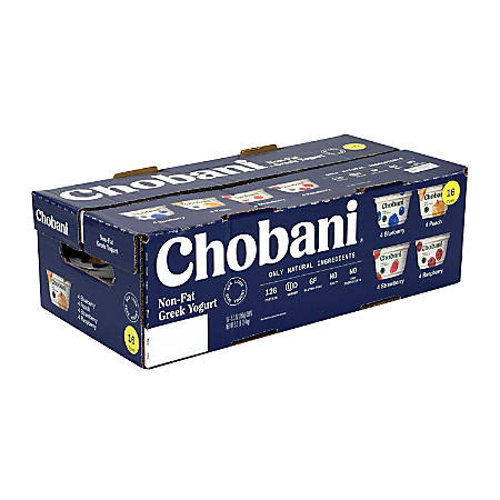 Chobani Greek Yogurt, 5.3 Oz, Assorted Flavors, Pack Of 16
