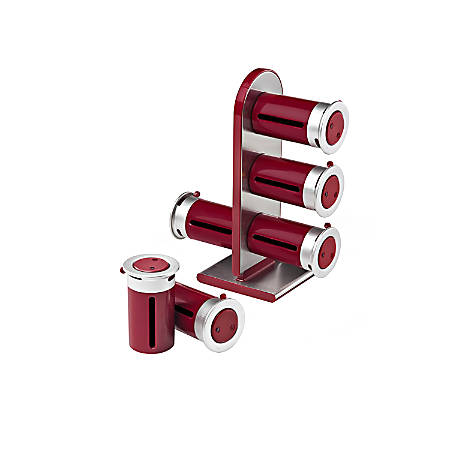 """Honey-Can-Do Zero Gravity™ Countertop Magnetic Spice Stand, 7 1/4""""H x 9 3/8""""W x 3 1/4""""D, Red/Silver"""