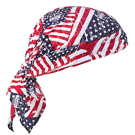 Ergodyne Chill-Its 6710 Evaporative Cooling Triangle Hats, Stars & Stripes, Case Of 24 Hats