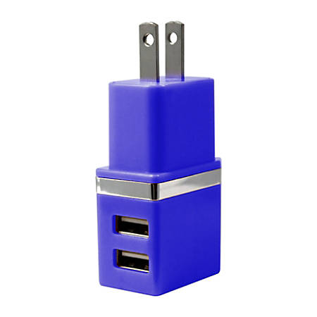Duracell® Dual USB Wall Charger, Metallic Blue