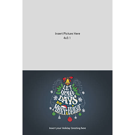 Flat Photo Greeting Card, Merry And Bright, Vertical
